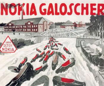 une publicité pour les chaussures nokia du début du xxe siècle.