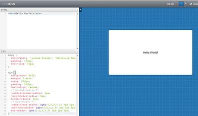 css desk permet de coder en html et css, et de visualiser immédiatement le