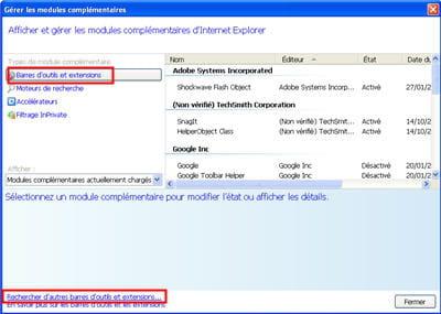 l'outil de gestion des modules sous internet explorer