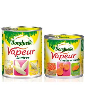 les légumes bonduelle sont cuits à la vapeur directement dans la boîte.
