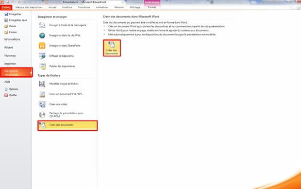 Convertir la présentation en document Word