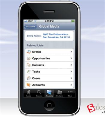 l'application salesforce crm mobilepourl'iphone