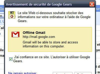 offline gmail repose sur le système google gears