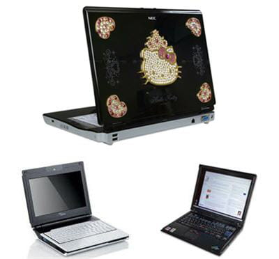 l'ordinateur portable hello kitty de nec, l'ibm thinkpad et le fujitsu amilo