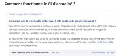facebook explique brièvement le fonctionnement de son fil d'actualité...