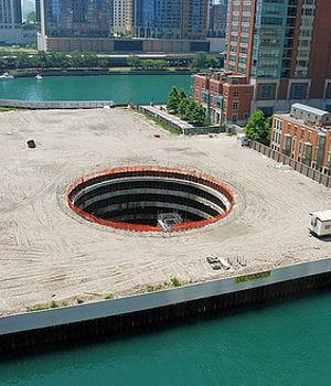 les travaux de fondations de la chicago spire se sont arrêtés du jour au