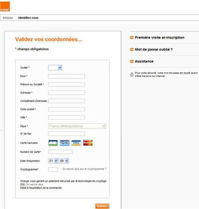 un exemple de phishing avec un faux site d'orange