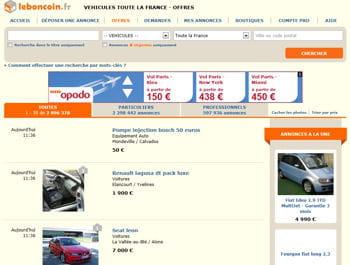 la rubrique automobile du site leboncoin.