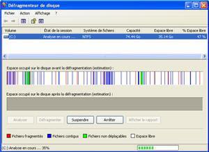 l'outil de défragmentation inclut dans windows.