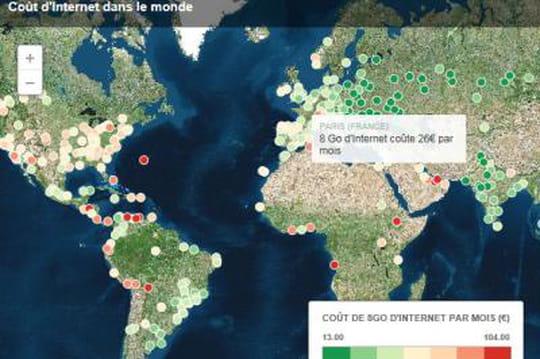 La carte des prix de l'Internet dans le monde