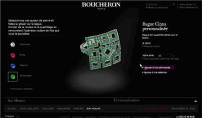 exemple de création d'un bijou personnalisé sur le site de boucheron