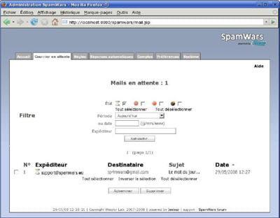 spamwars est disponible à la fois sous windows, linux, solaris, unix et mac os