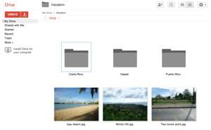 interface graphique de google drive.