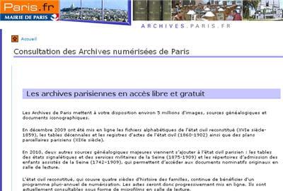 copie d'écran du site des archives numérisées de la mairie de paris.