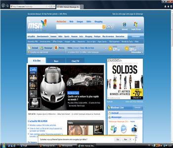 capture d'écran de la page d'accueil d'internet explorer 9 béta