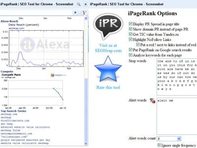 copie d'écran d'ipagerank, seo tool for chrome