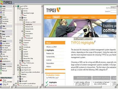 interface de navigation dans le back-office avec fenêtre de visualisation