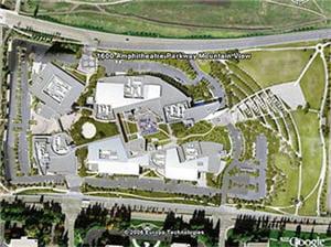 le siège de google en californie vu du ciel