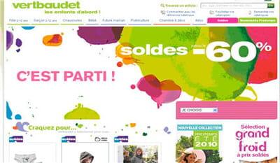 page d'accueil de vertbaudet.fr