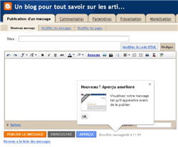 la création de blogs via blogger.
