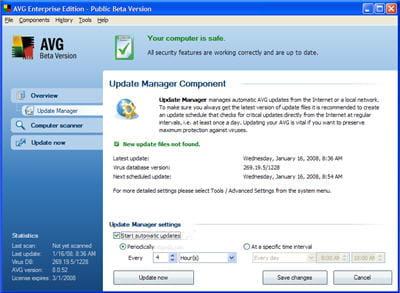 l'interface du logiciel antivirus avg