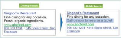 deux exemples de lien sponsorisé traditionnel et adapté au mobile