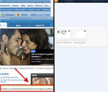 a gauche, les nouvelles alertes d'internet explorer 9, à droite la gestion