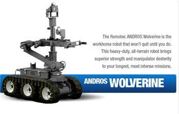 le robot wolverine, utilisé comme outil de déminage en terrain dangereux ou