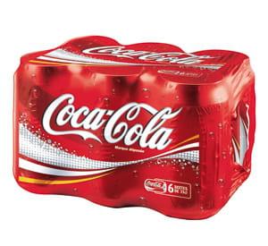 le pack de six boîtes de coca-cola.