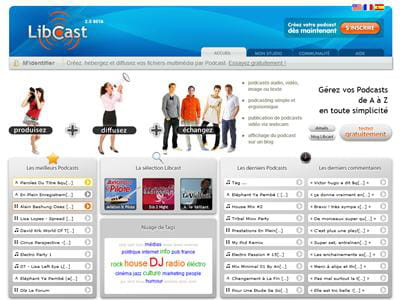 la page d'accueil de libcast