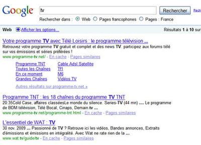 résultats de google pour la requête 'tv'