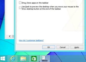 un menu propose de montrer les apps modern ui sur la barre des tâches ('show