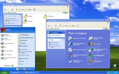 bureau et fenêtres sous windows xp.