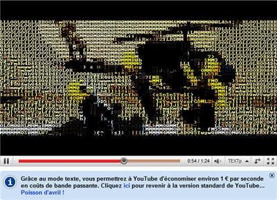 youtube a transformé quelques vidéos de sa plate-forme en suites de caractères