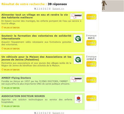 résultat du moteur lors d'une recherche sur charitic.fr