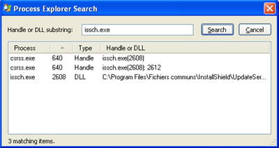 copie d'écran de la fonction find handle or dll de process explorer
