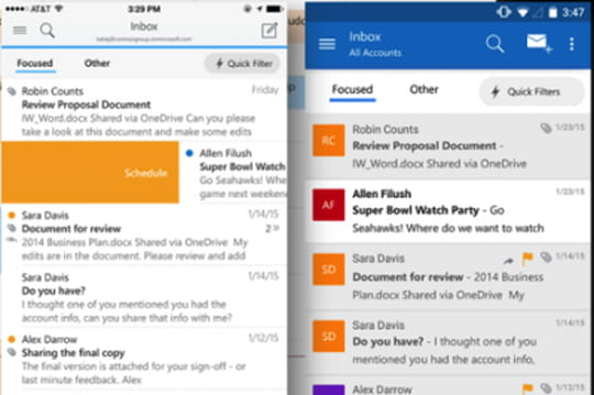 Outlook lancé pour iOS et Android, et Office pour Android en version finale