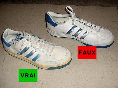 une chaussure adidas et sa contrefaçon.