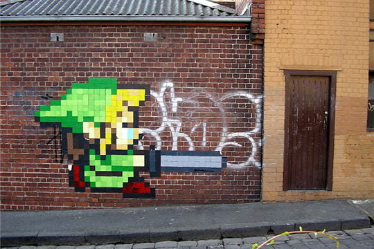 Zelda pixel art graffiti