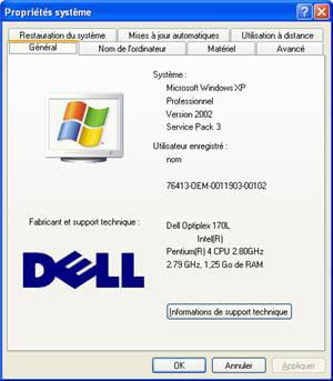les informations systèmes de windows.