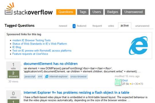 Le support d'Internet Explorer bascule sur Stack Overflow