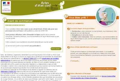 copie d'écran du site actes-etat-civil.fr