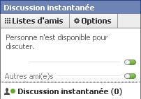 copie d'écran de la messagerie instantanée de facebook.