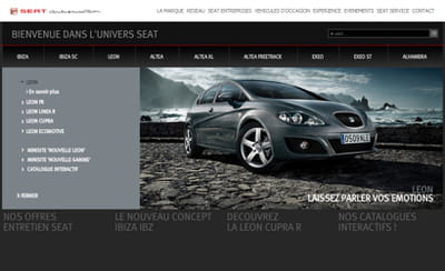 exemple d'une page d'accueil produit sur seat.fr