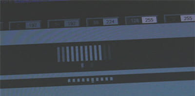 dans ce test, sur le t260hd, 10 barres parallèles se déplacent rapidement, de
