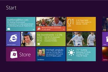 page d'accueil de windows 8 présentée à l'occasion de la conférence d9 2011.