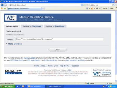 page d'accueil du valideur du w3c