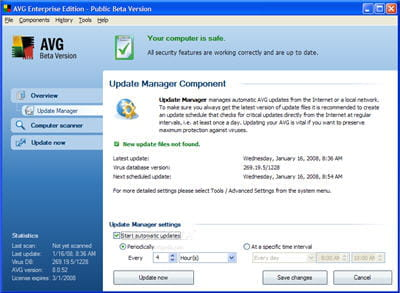 l'interface du logiciel antivirus avg