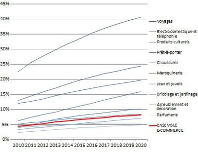 poids de l'e-commerce dans la consommation des ménages
