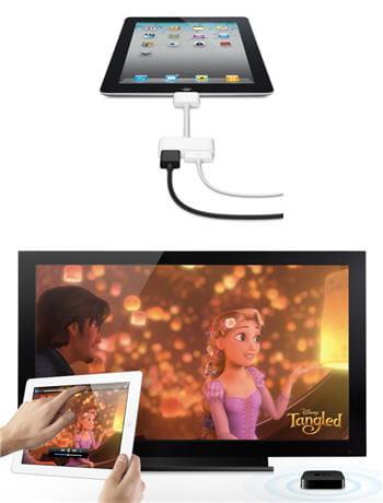 en haut, la double connectique av / dvi de l'ipad, en bas la diffusion vidéo via